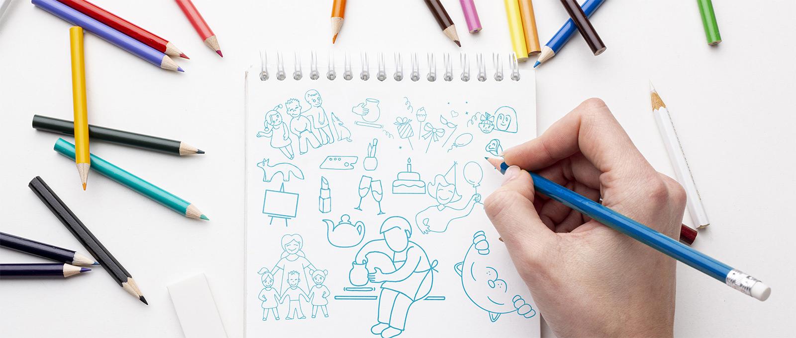 Отрисовка эскизов иллюстраций для сайта гончарной студии